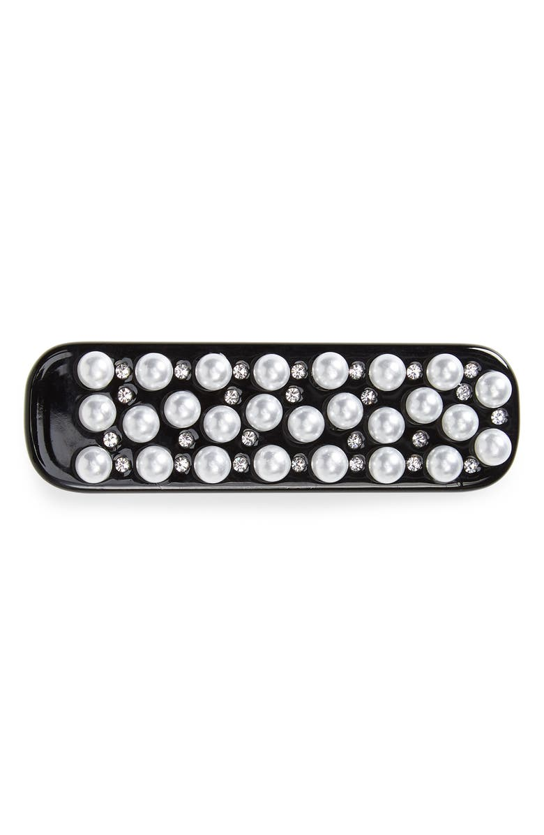 8 OTHER REASONS Cora Resin & Imitation Pearl Hair Clip, Main, color, BLACK