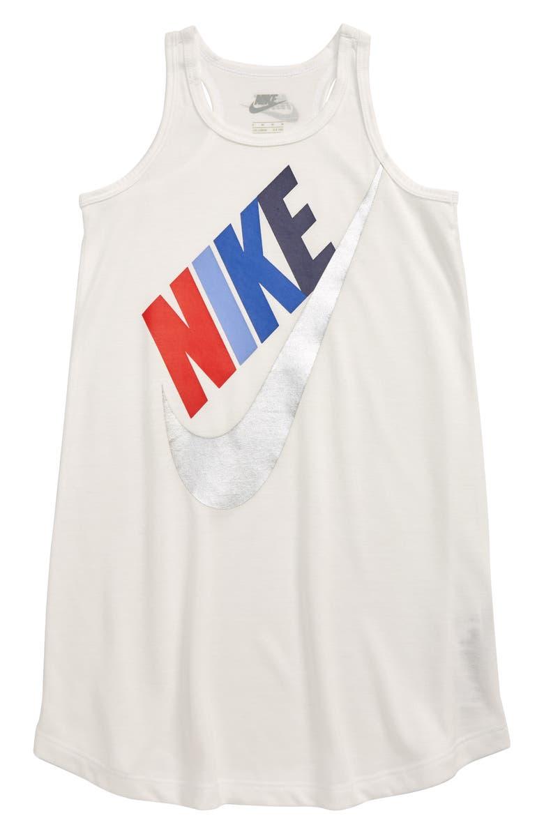 NIKE Futura Graphic Tank Dress, Main, color, WHITE