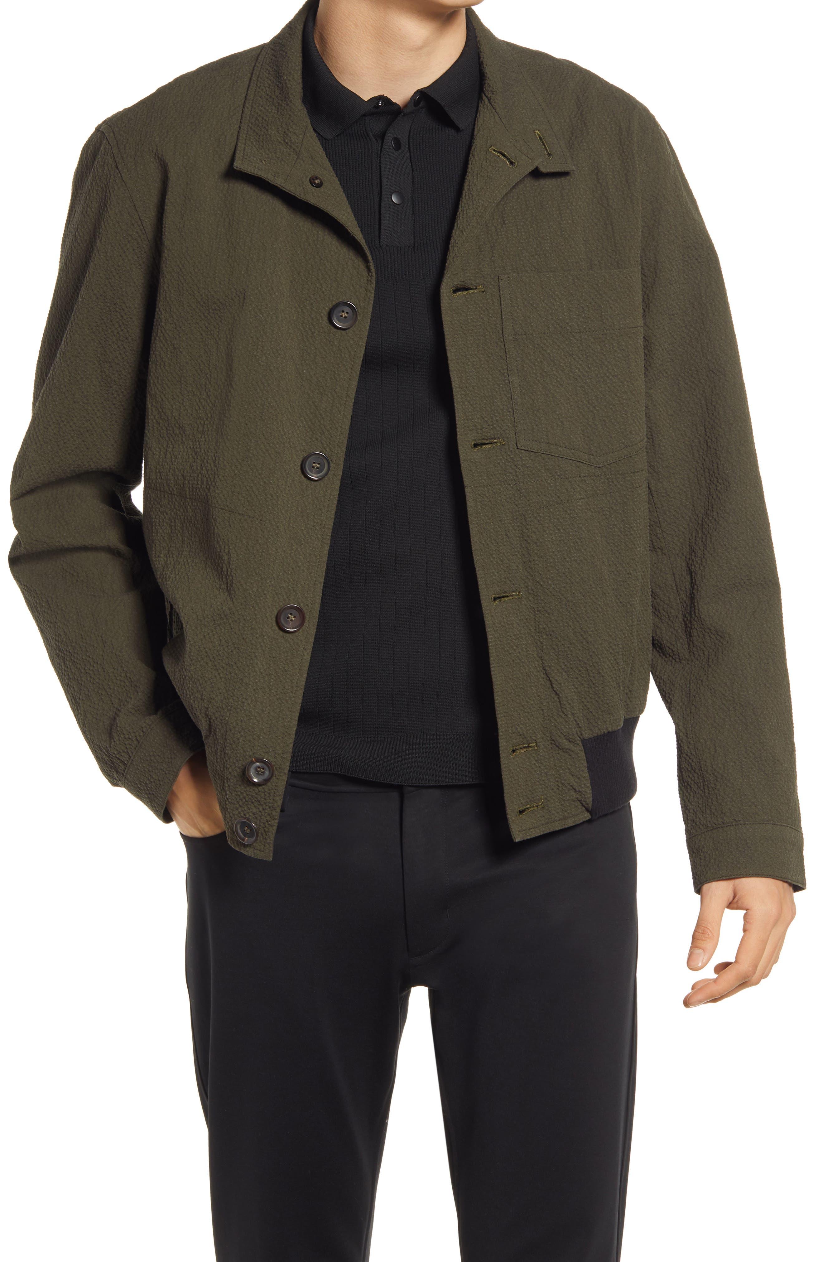 1920s Men's Style Clothing Oliver Spencer Mens Ryde Seersucker Bomber Jacket Size 44 in Green at Nordstrom $363.00 AT vintagedancer.com