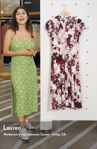 Floral Print Flutter Sleeve Midi Dress, sales video thumbnail