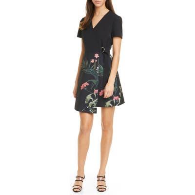 Ted Baker London Mizalia Highland Faux Wrap Dress, (fits like 00 US) - Black