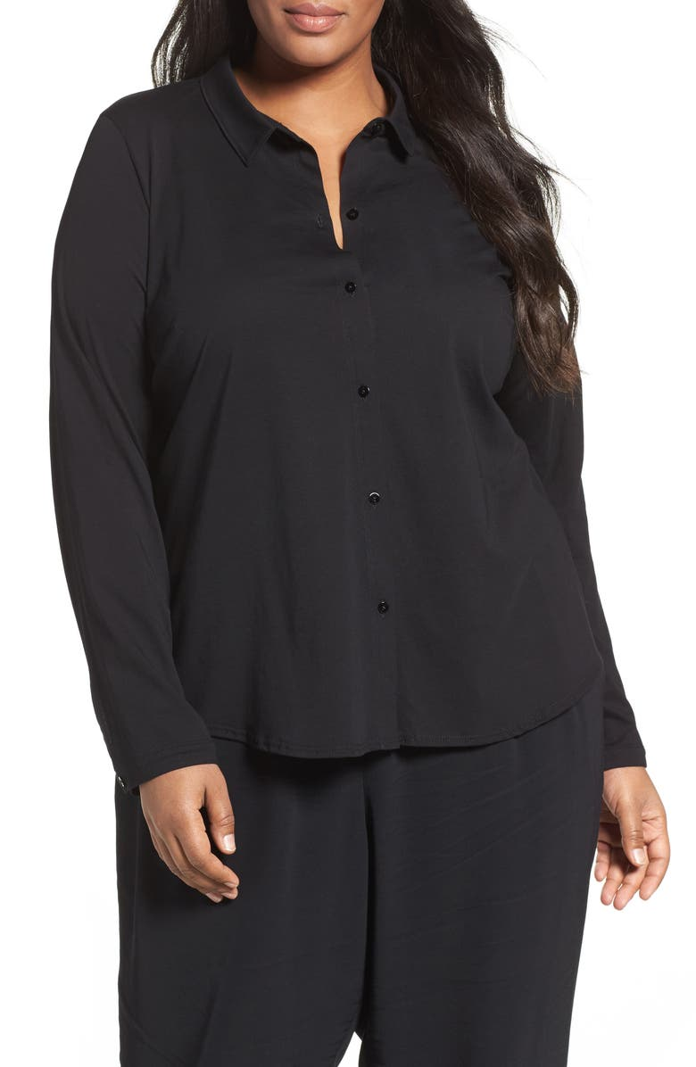 EILEEN FISHER Organic Cotton Jersey Classic Collar Shirt, Main, color, 001