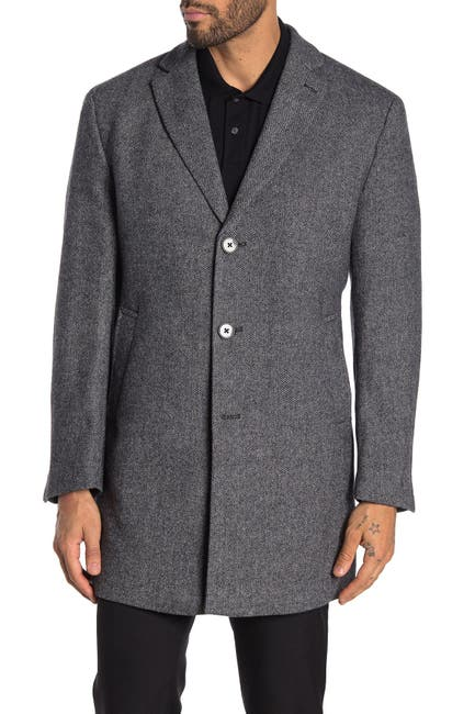 Image of Calvin Klein Prosper Houndstooth Wool Blend Coat