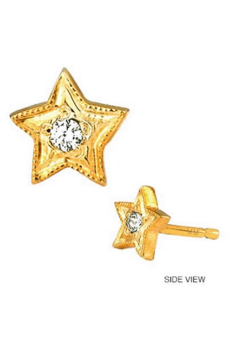 MINI MINI JEWELS Diamond Icon Star Earring, Main, color, YELLOW GOLD
