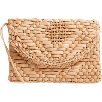 Knotty Woven Straw Clutch - Brown