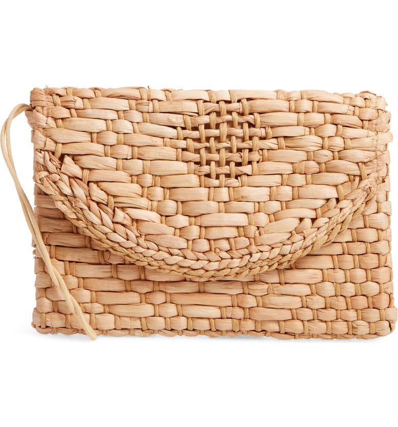 KNOTTY Woven Straw Clutch, Main, color, NATURAL