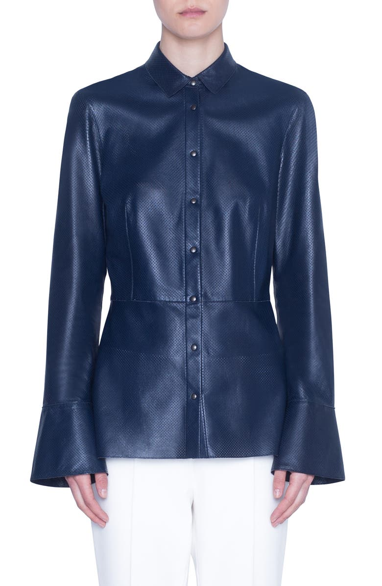 AKRIS PUNTO Perforated Leather Peplum Top, Main, color, NIGHT SKY