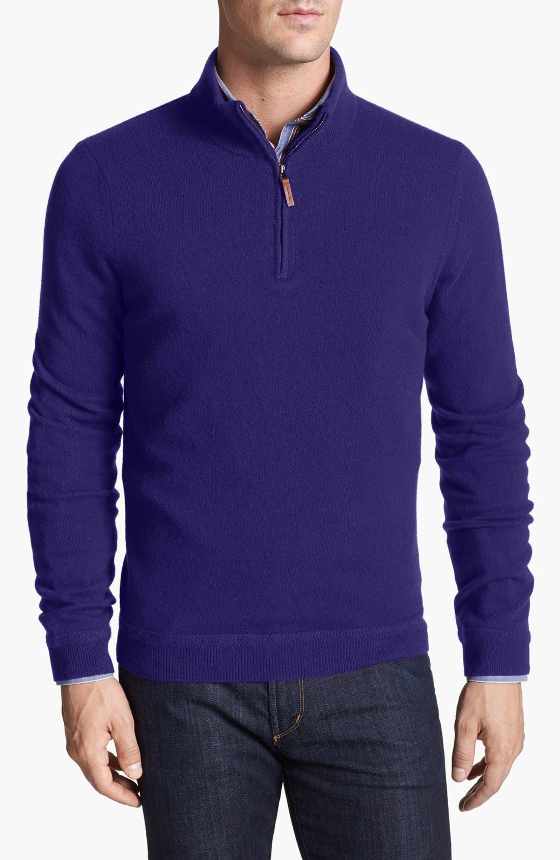 Men's Big & Tall John W. Nordstrom Half Zip Cashmere Sweater