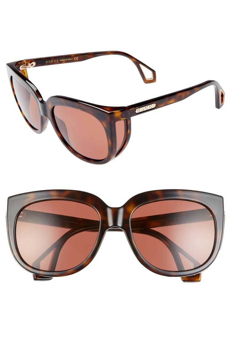 GUCCI 57mm Cat Eye Sunglasses, Main, color, SHNY DK HAV MAZZU/BRN SOLID