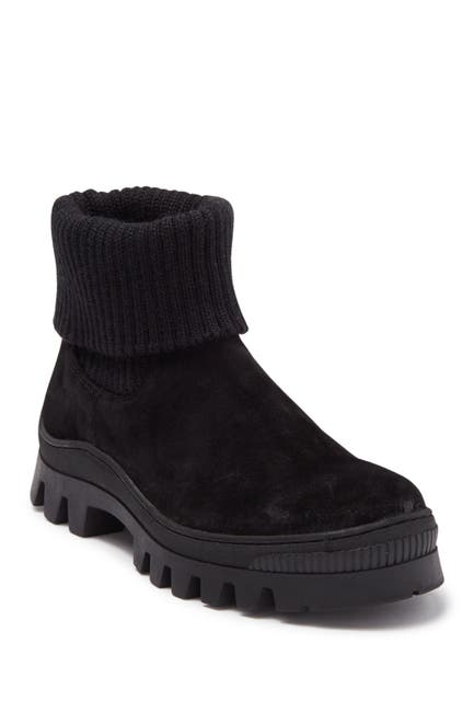Image of Karl Lagerfeld Paris Wool Knit Cuff Suede Chelsea Boot