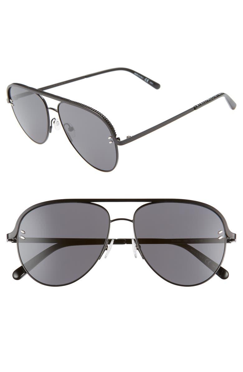 STELLA MCCARTNEY 58mm Aviator Sunglasses, Main, color, BLACK/ BLACK