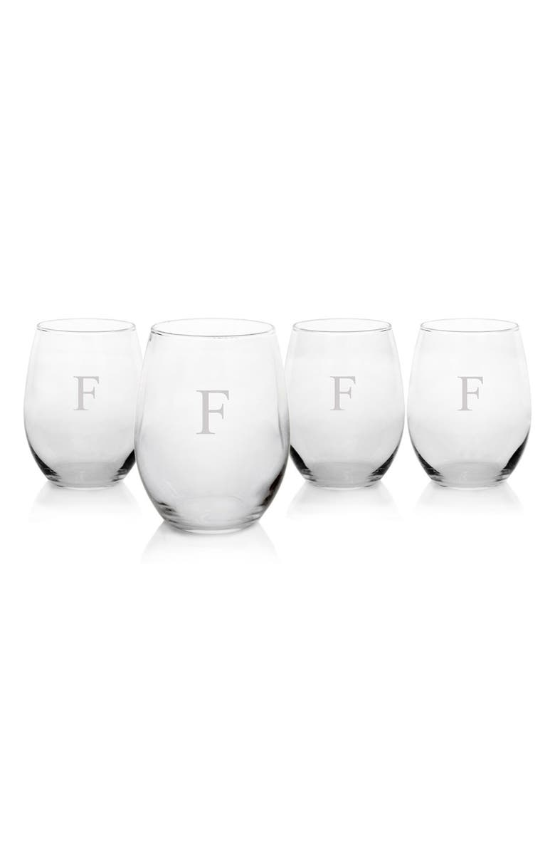 CATHY'S CONCEPTS Monogram Set of 4 Stemless Wine Glasses, Main, color, 965
