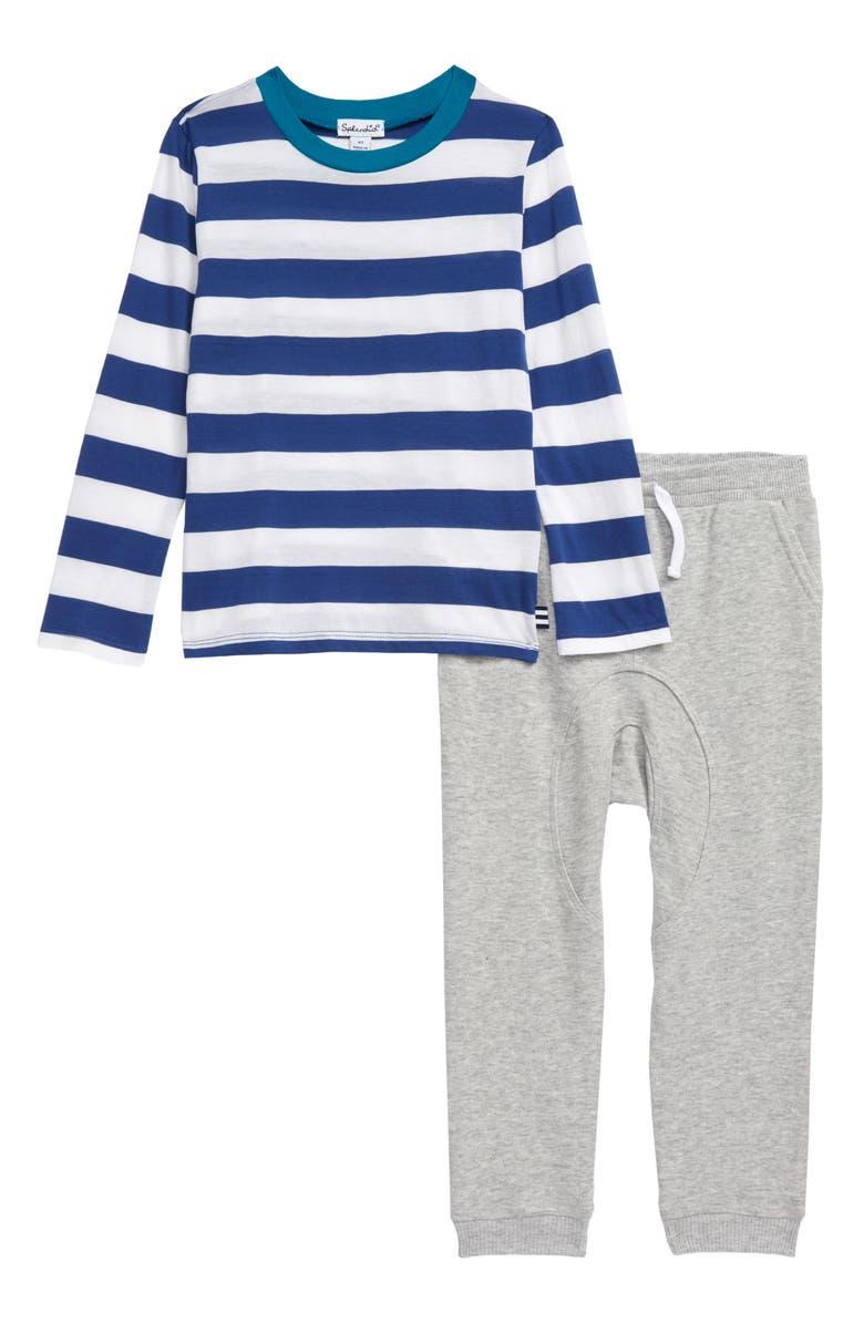 SPLENDID Stripe T-Shirt & Pants Set, Main, color, ROYAL SAPPHIRE