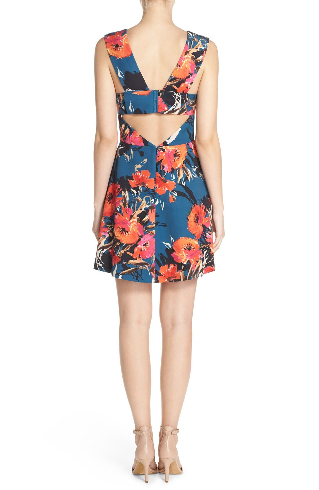 ,                             Bianca Back Cutout Fit & Flare Dress,                             Alternate thumbnail 48, color,                             421