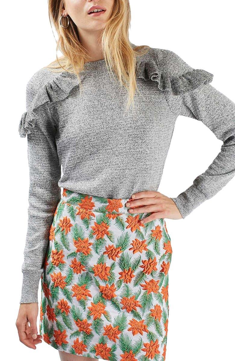 TOPSHOP Ruffle Shoulder Sweater, Main, color, 020