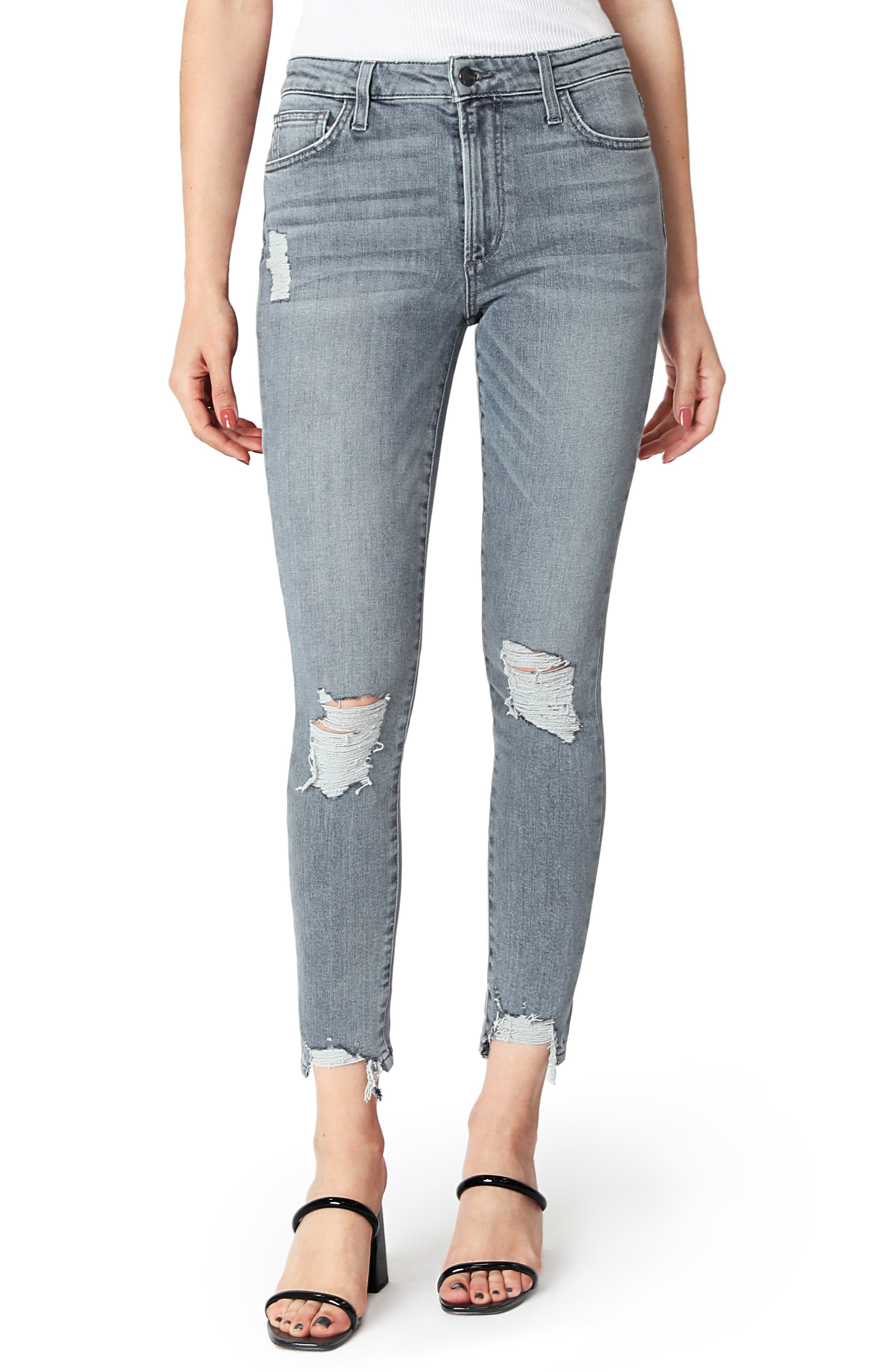 Women's Joe's The Charlie Ripped High Waist Ankle Skinny Jeans,  25 - Grey