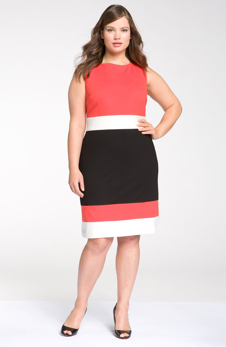 VINCE CAMUTO Sleeveless Colorblock Dress, Main, color, 950
