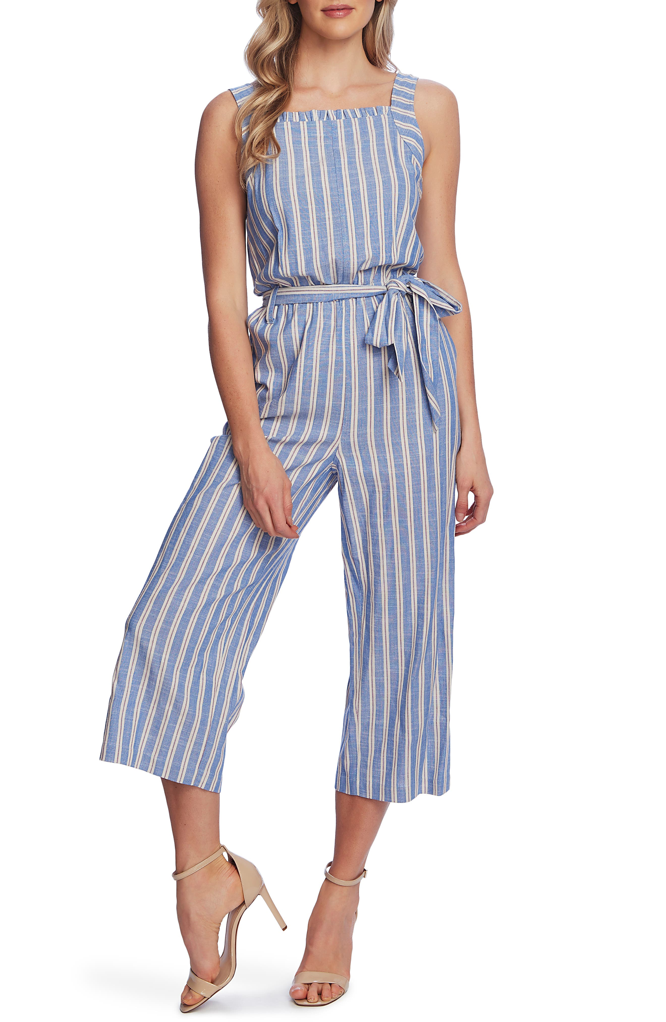 Image of CeCe by Cynthia Steffe Double Stripe Sleeveless Crop Jumpsuit