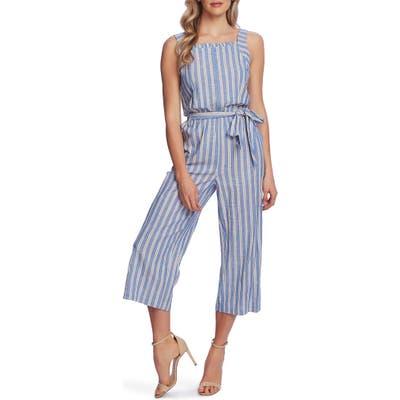 Cece Double Stripe Sleeveless Crop Jumpsuit, Blue