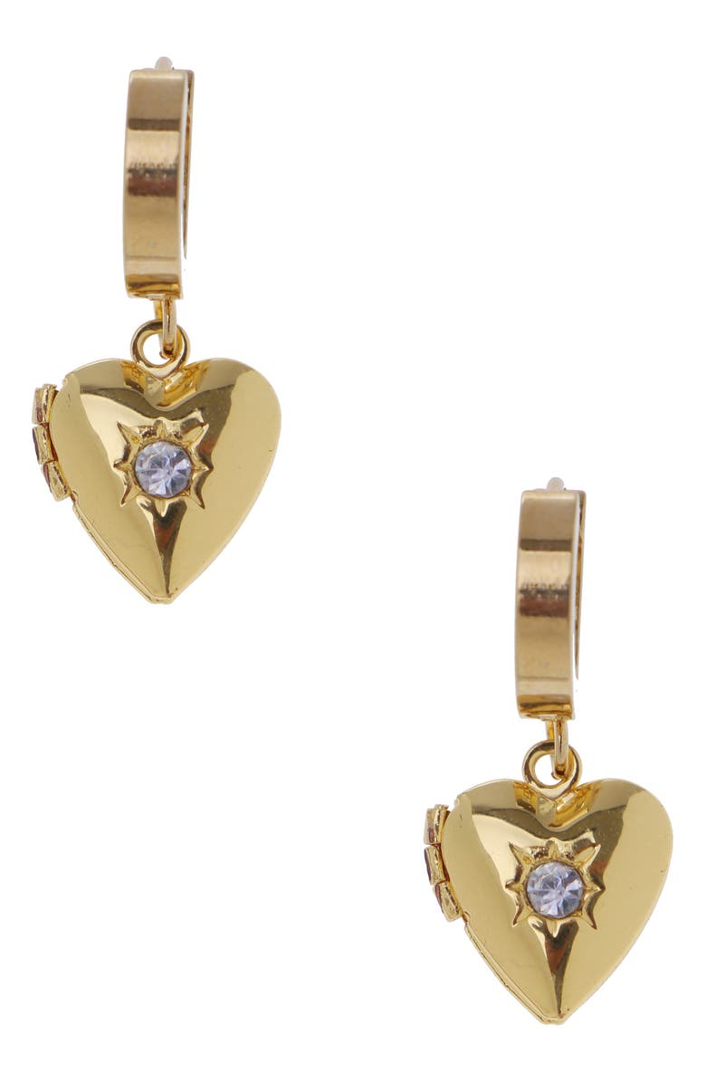 NAKAMOL CHICAGO Heart Locket Huggie Hoop Earrings, Main, color, GOLD