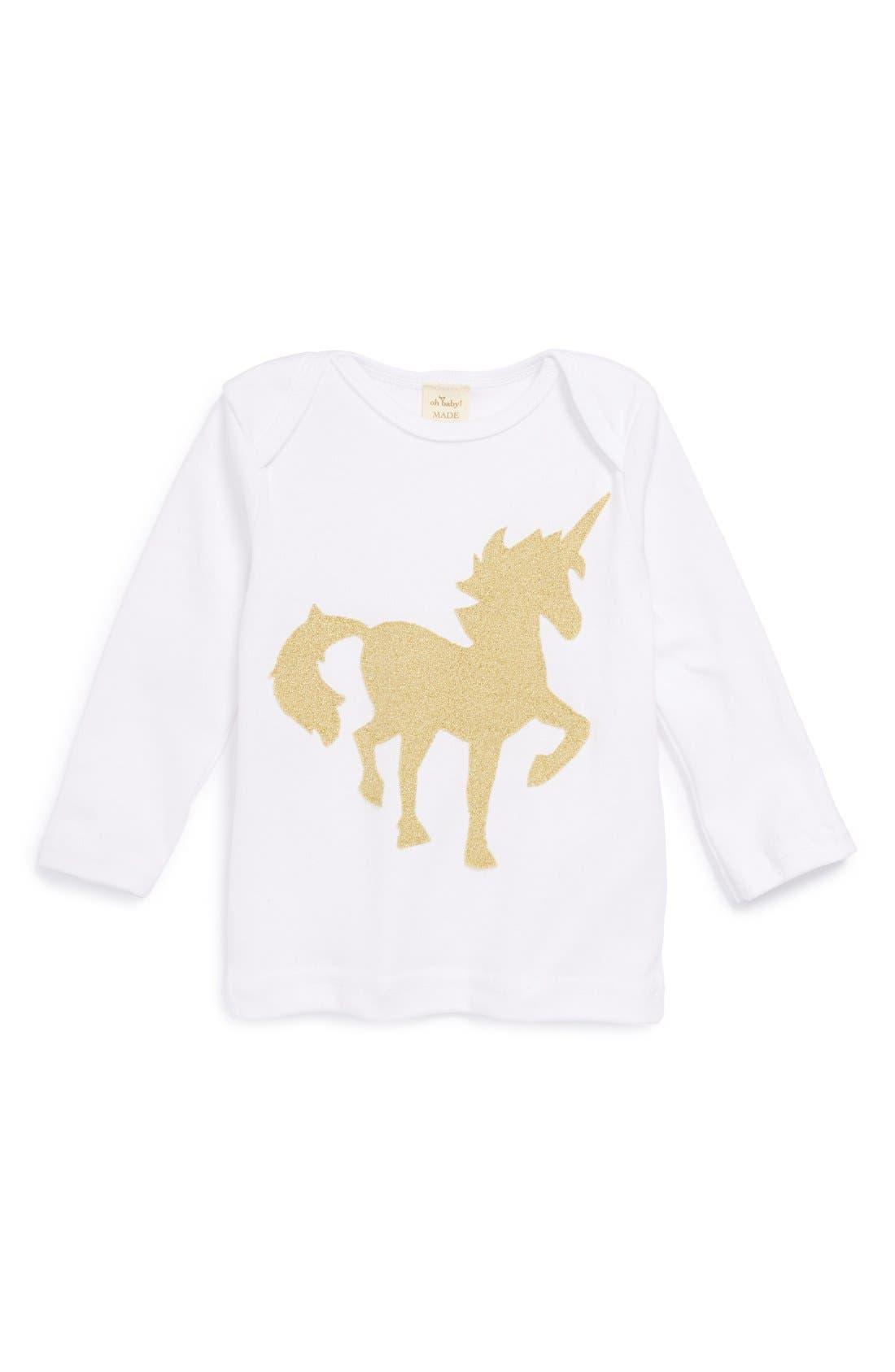 ! 'Gold Unicorn' Long Sleeve Cotton Top, Main, color, 100
