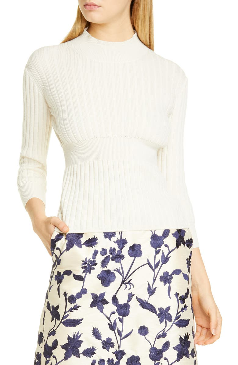 BROCK COLLECTION Rib Knit Cashmere & Silk Sweater, Main, color, NATURAL