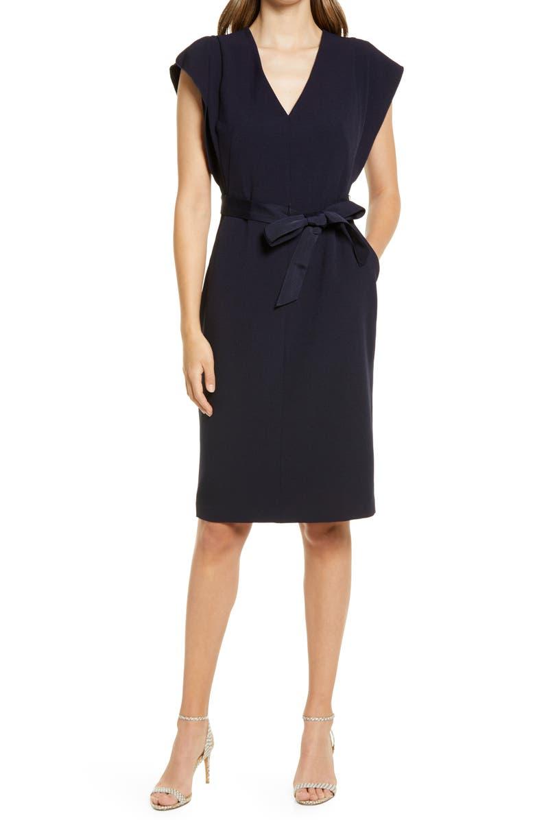 ELIZA J Flutter Sleeve Belted Crepe Dress, Main, color, NAVY
