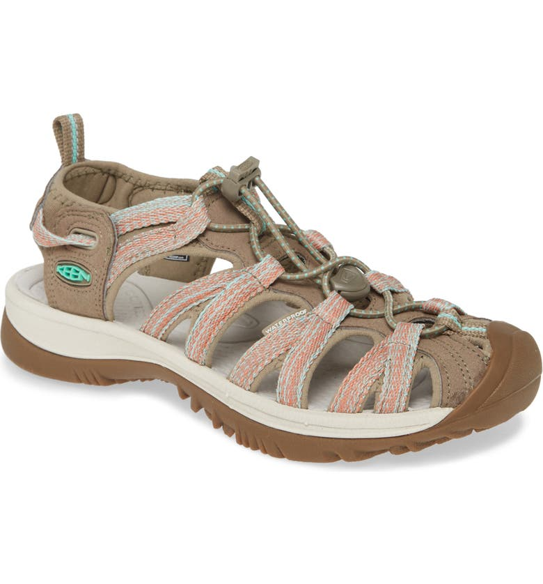 KEEN 'Whisper' Water Friendly Sport Sandal, Main, color, TAUPE/ CORAL FABRIC