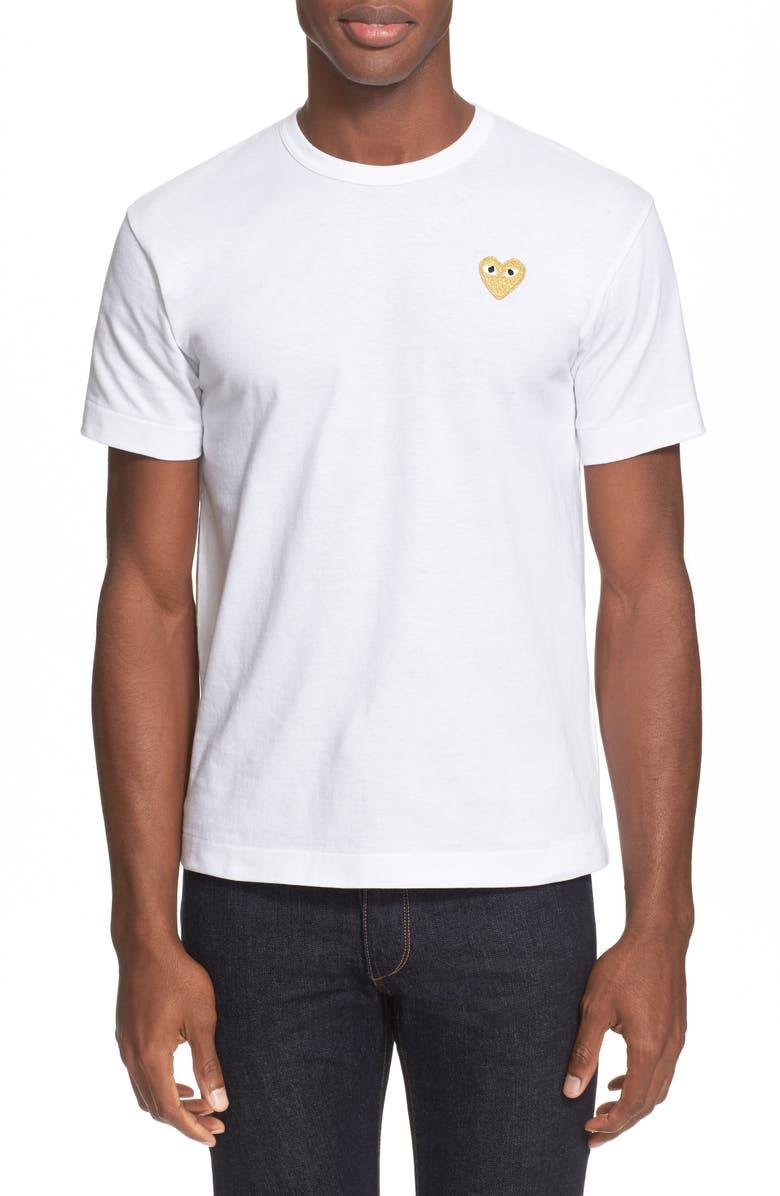 COMME DES GARÇONS PLAY Slim Fit Crewneck T-Shirt, Main, color, WHITE