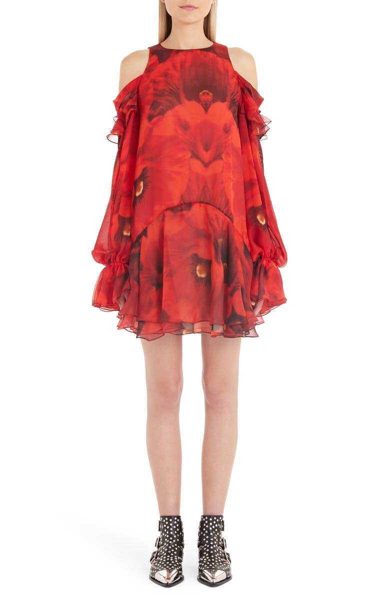 ALEXANDER MCQUEEN Poppy Print Cold Shoulder Silk Dress, Main, color, 600
