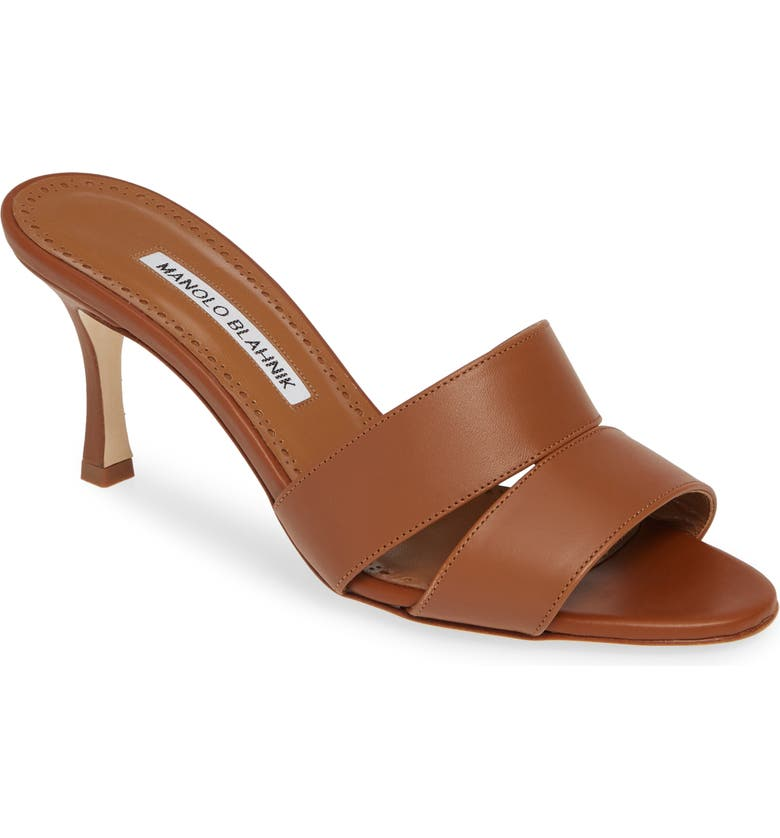 MANOLO BLAHNIK Iacopo Double Band Sandal, Main, color, BROWN LEATHER