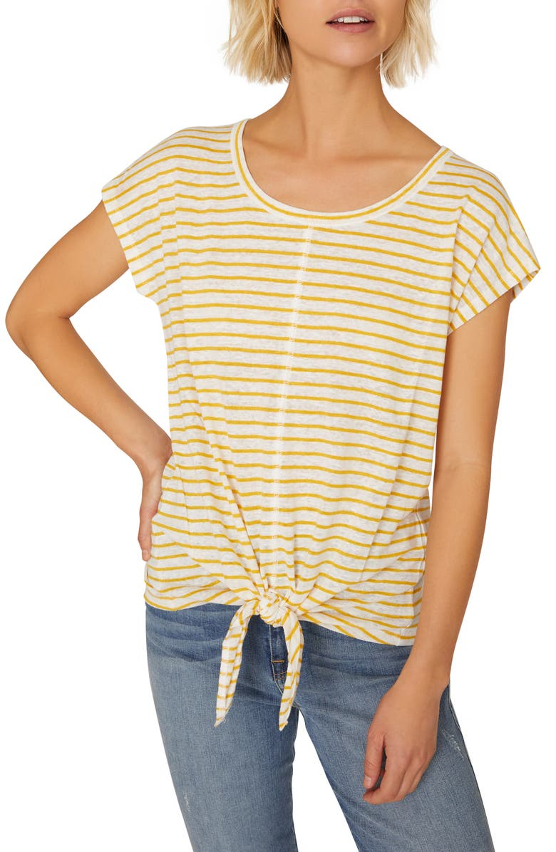 Maddy Tie Stripe Linen Tee by Sanctuary