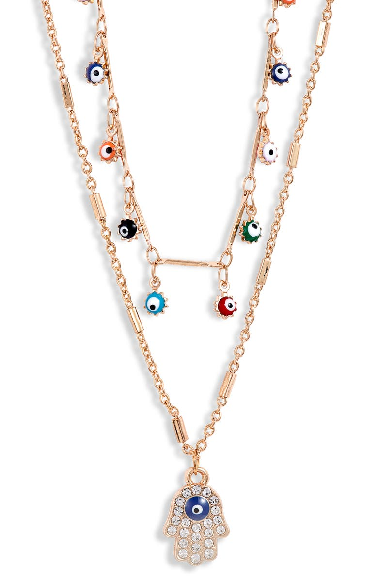 8 OTHER REASONS Fatima Layer Necklace, Main, color, 710
