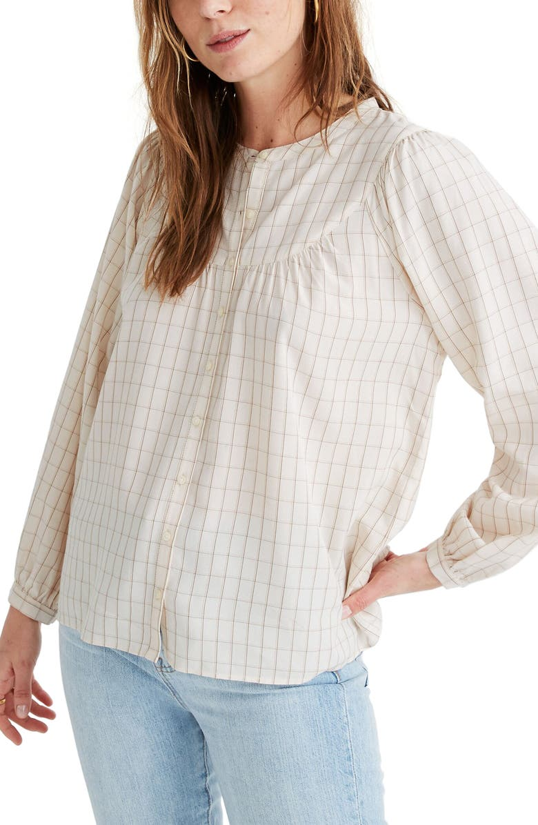 MADEWELL Windowpane Balloon Sleeve Peasant Top, Main, color, 900