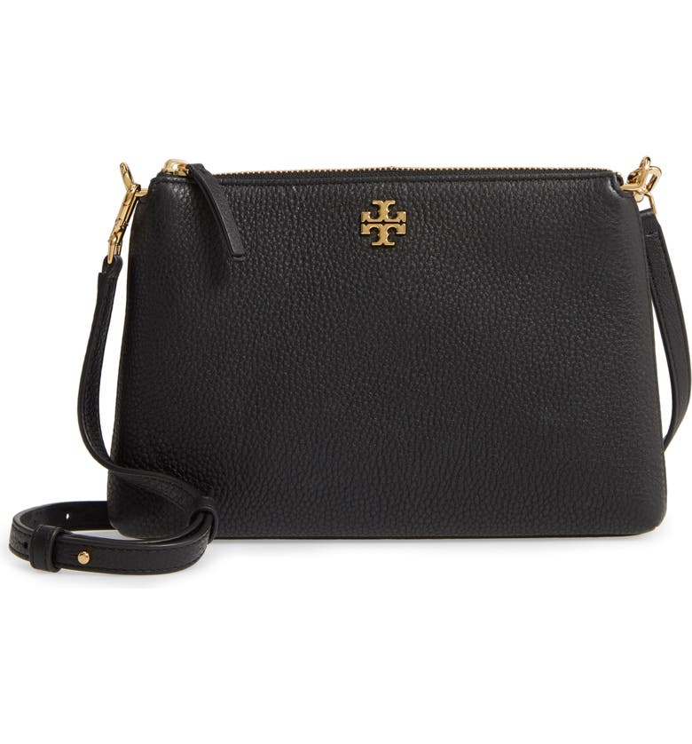 TORY BURCH Kira Pebbled Leather Wallet Crossbody Bag, Main, color, BLACK