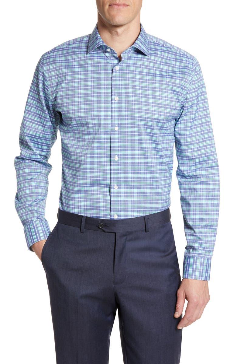 NORDSTROM MEN'S SHOP Trim Fit Stretch Non-Iron Plaid Dress Shirt, Main, color, GREEN WINTER
