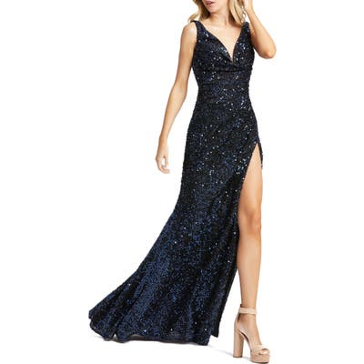 MAC Duggal Sequin Slit Gown, Blue