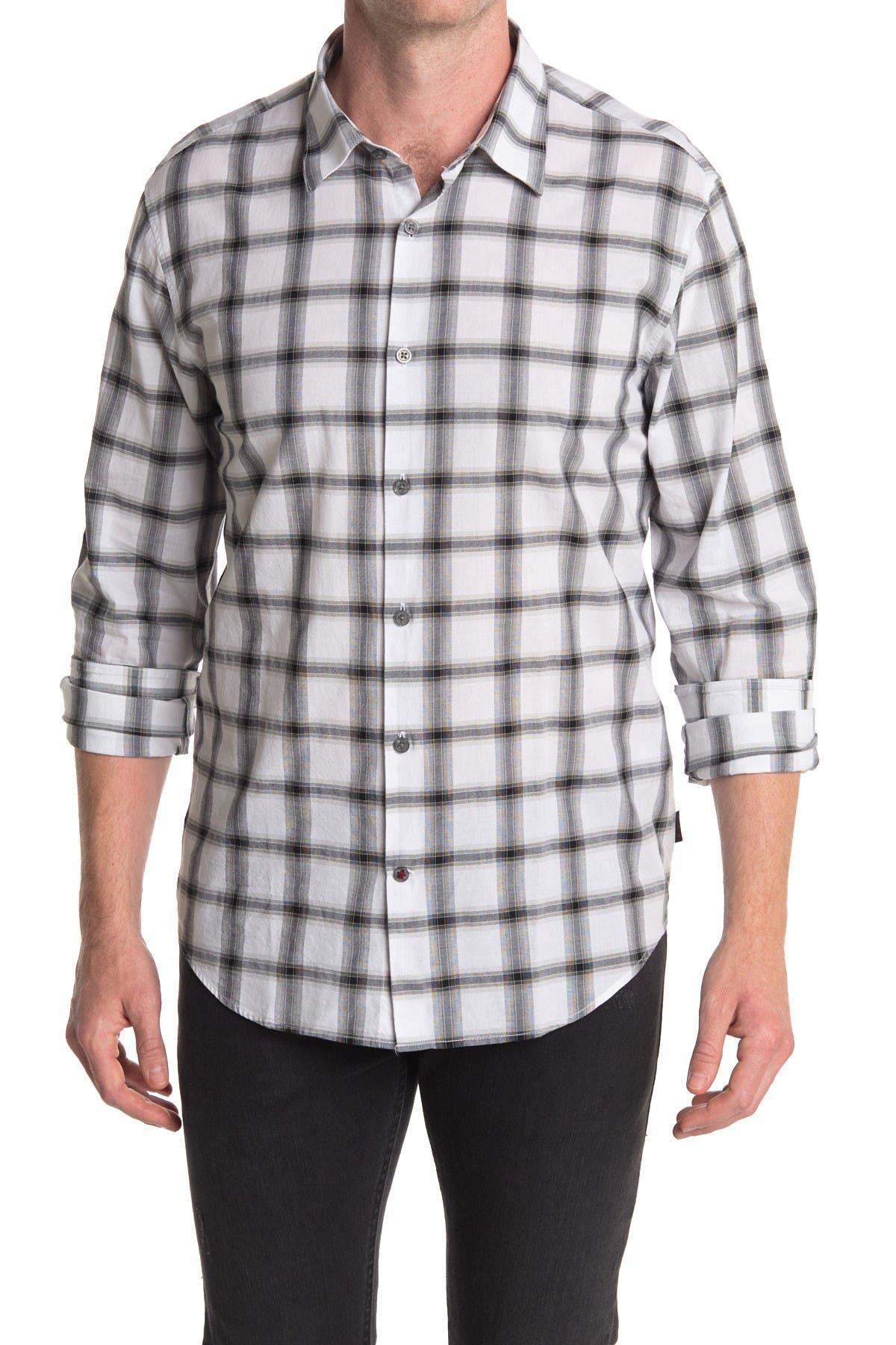 Image of John Varvatos Collection Long Sleeve Checkered Woven Shirt