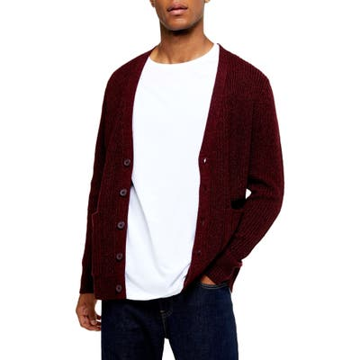 Topman Rack Textured Cardigan Sweater, Burgundy