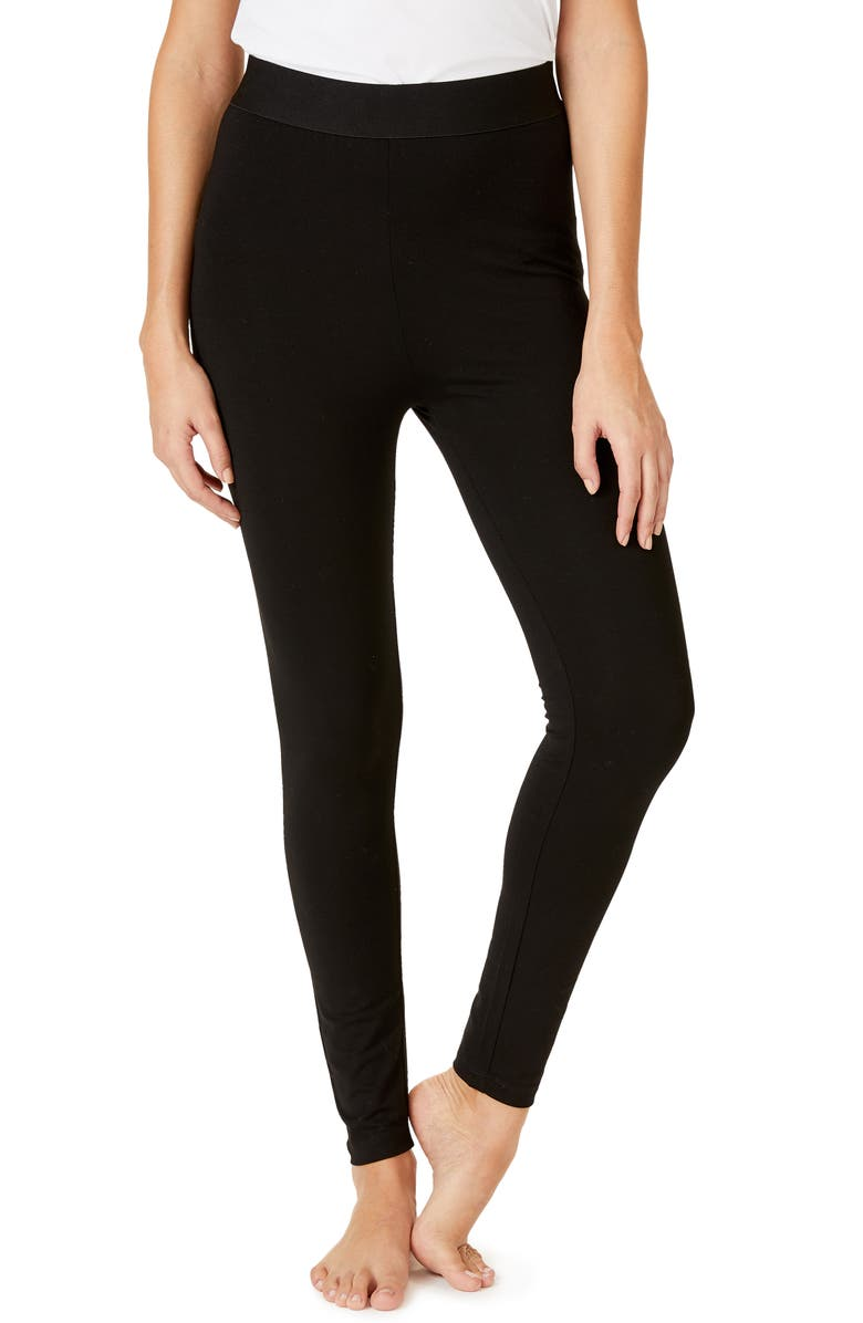 THE WHITE COMPANY Satin Waistband Leggings, Main, color, BLACK