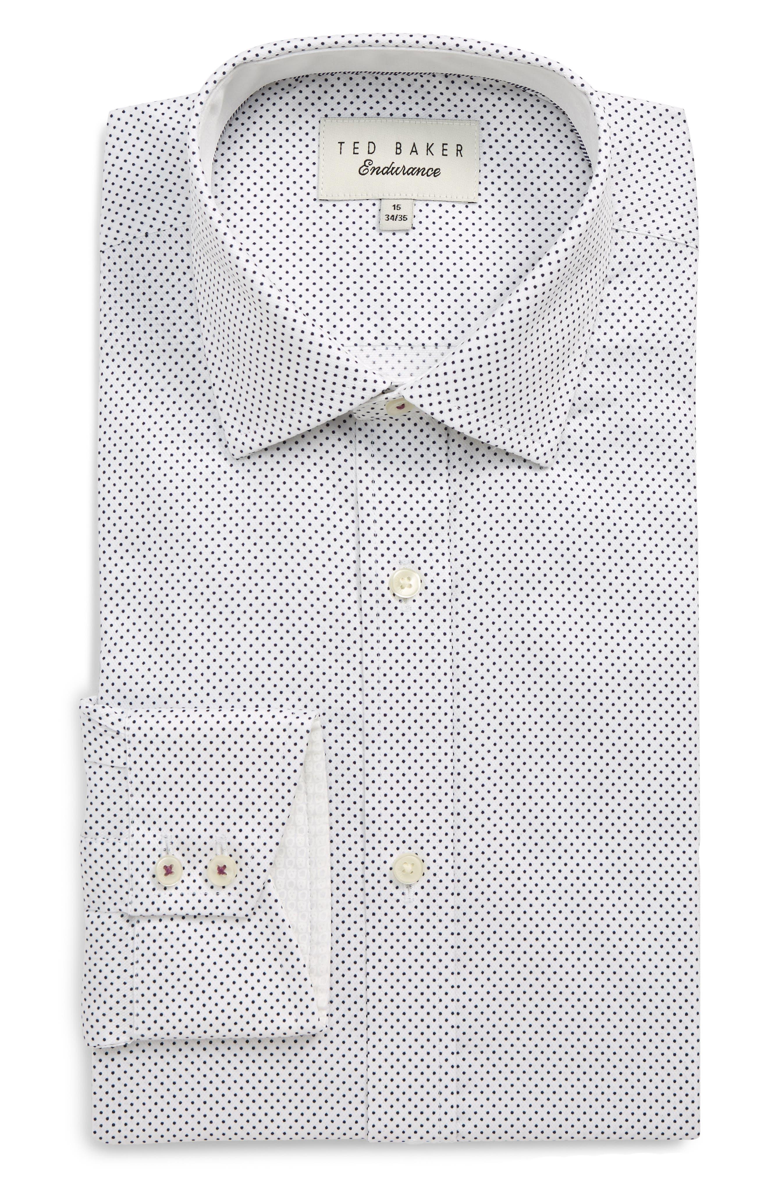 Endurance Clamme Extra Slim Fit Dot Dress Shirt, Main, color, WHITE