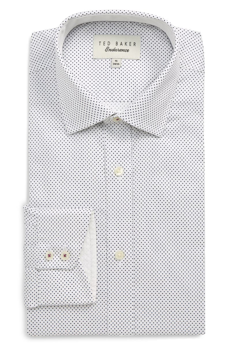 TED BAKER LONDON Endurance Clamme Extra Slim Fit Dot Dress Shirt, Main, color, WHITE