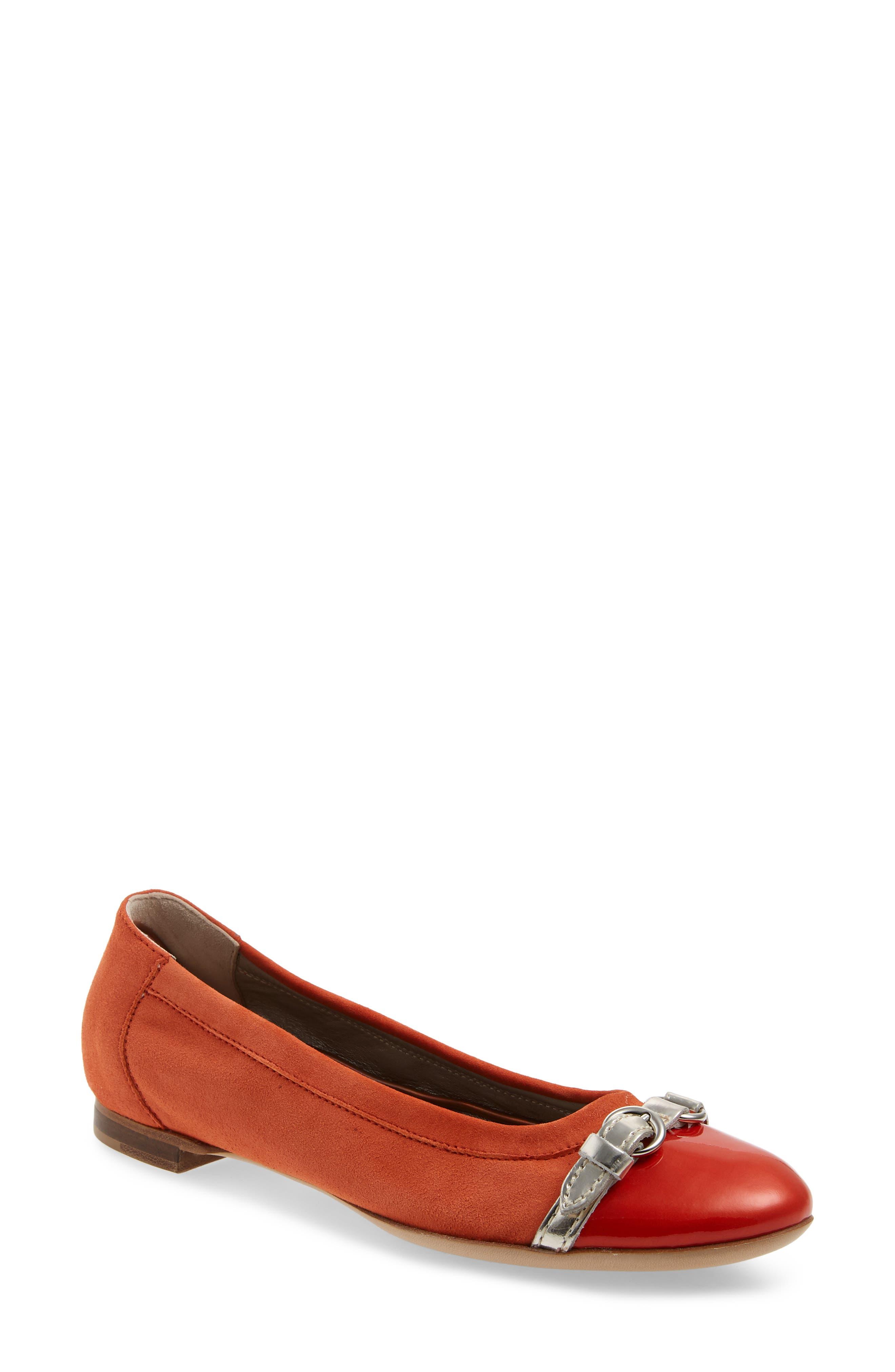 Agl Cap Toe Ballet Flat - Orange