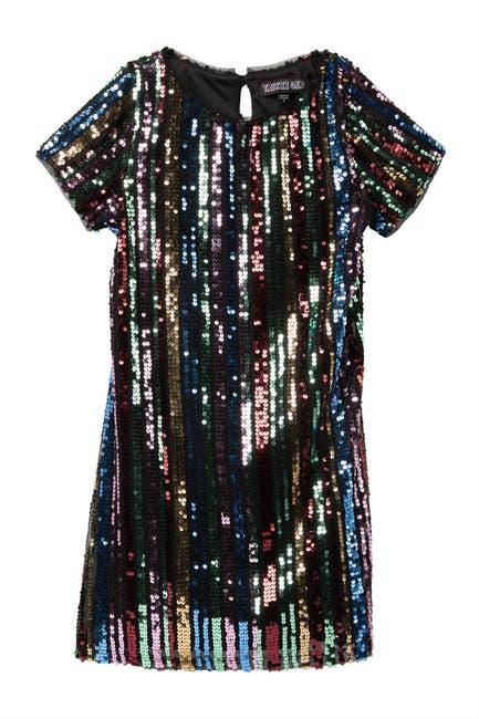 Image of Trixxi Rainbow Sequin Sheath Dress