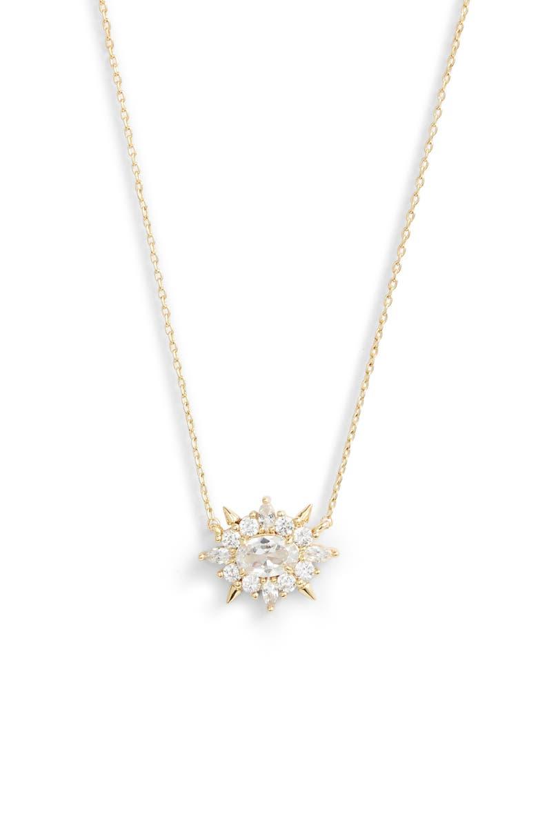 MELINDA MARIA Jackie Pendant Necklace, Main, color, GOLD/ WHITE OPAL/ WHITE CZ