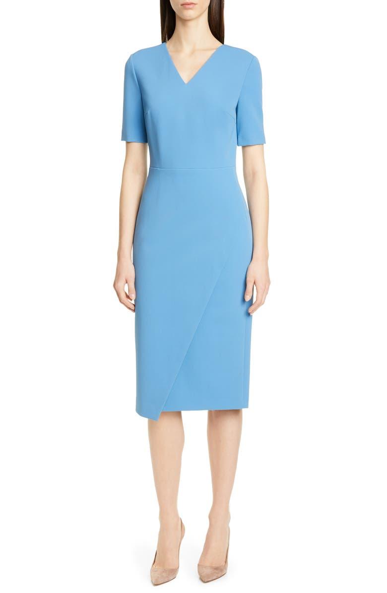 BOSS Daissa Faux Wrap Sheath Dress, Main, color, ZICRON BLUE