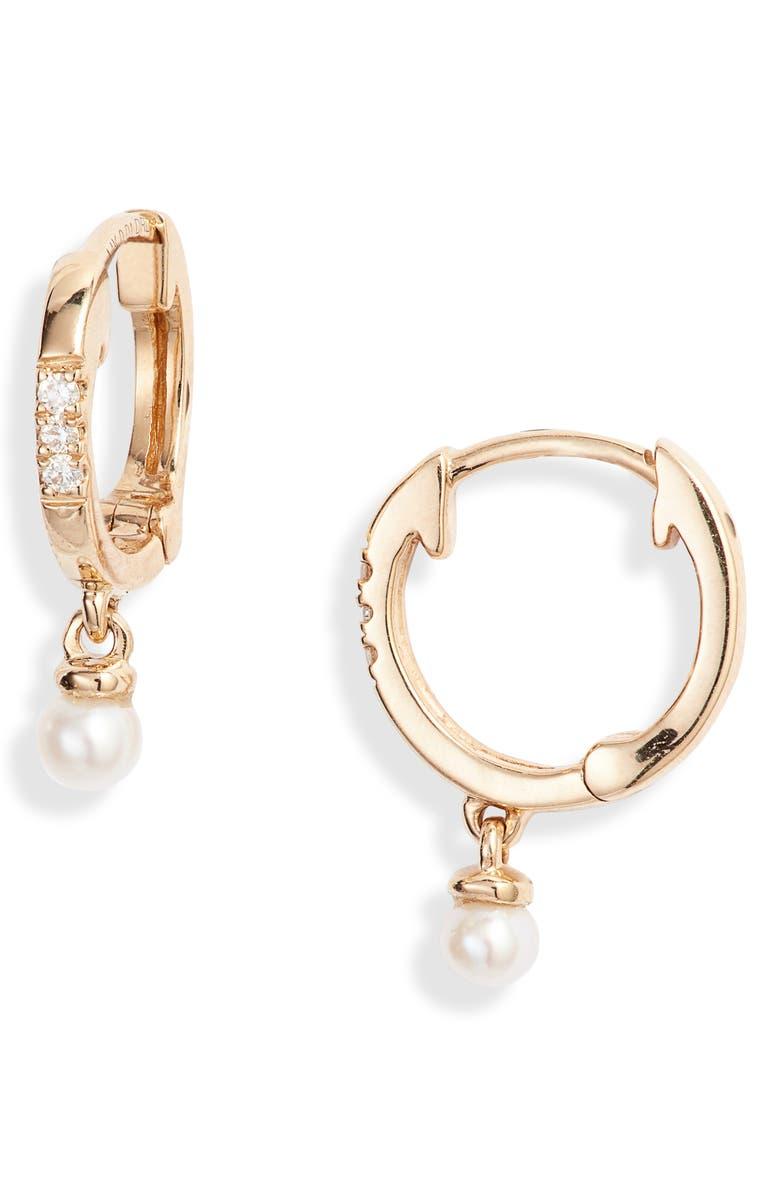 DANA REBECCA DESIGNS Pearl Ivy Drop Diamond Huggie Earrings, Main, color, YELLOW GOLD