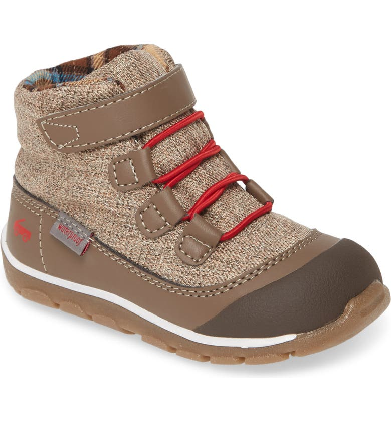 SEE KAI RUN Sam Waterproof Boot, Main, color, BROWN/ RED