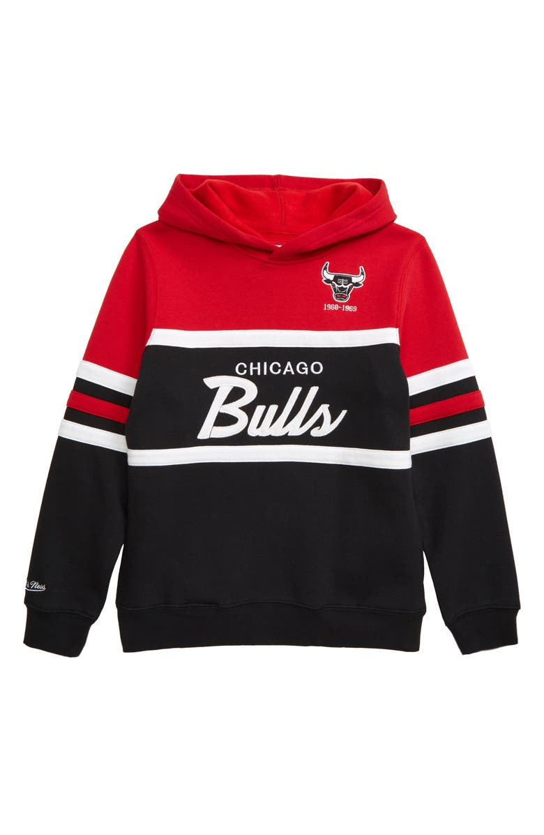 MITCHELL & NESS Chicago Bulls Head Coach Hoodie, Main, color, RED/ BLACK