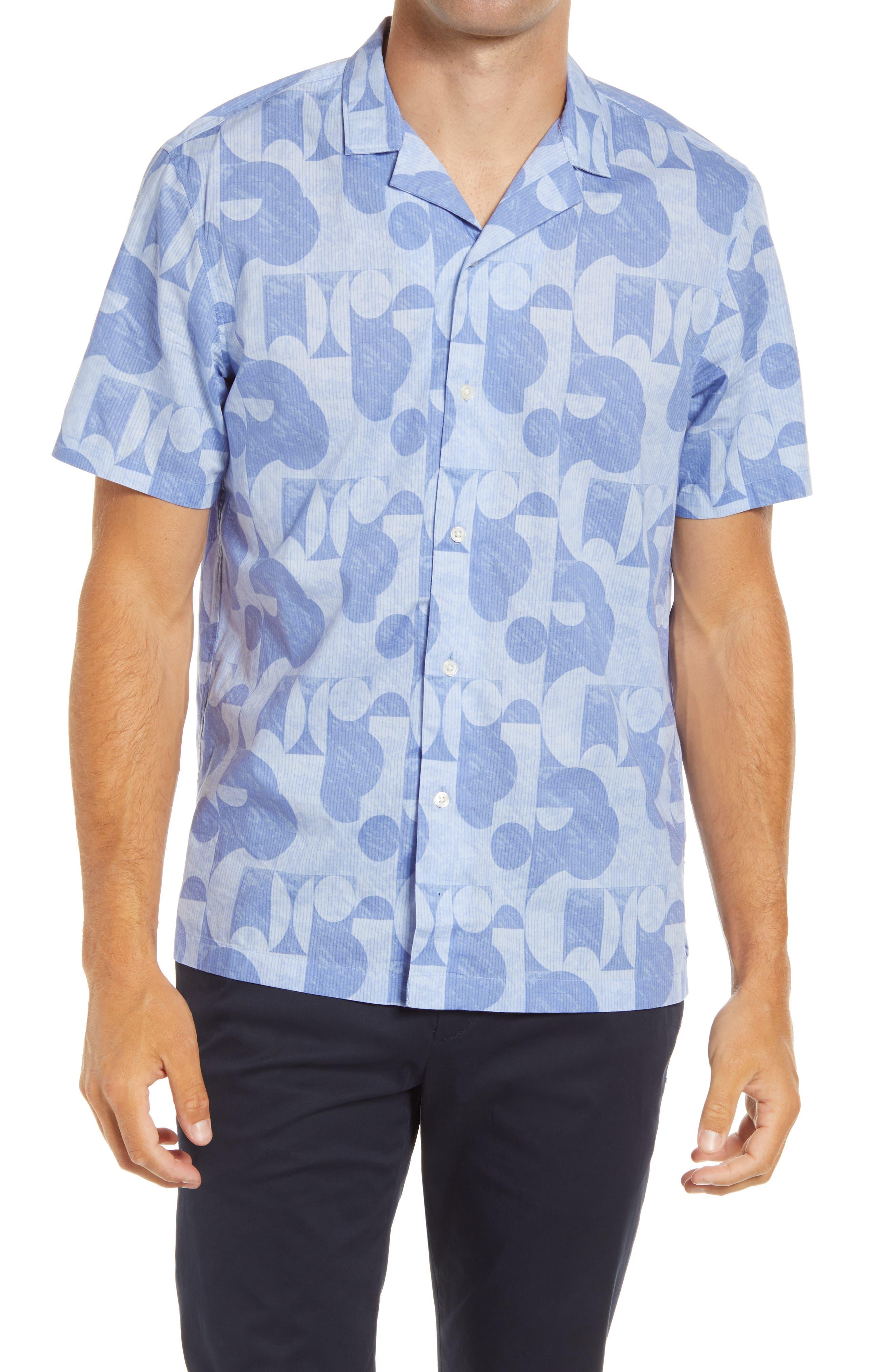 Men s Club Monaco Modern Geo Short Sleeve Button Up Men s Camp Shirt E589